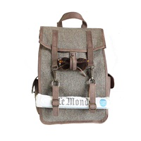 Kjore Project Evolution Of Goods Leather Wool Survey Evolution Backpack Green Brown