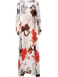 Erika Cavallini Floral Print Maxi Dress Red