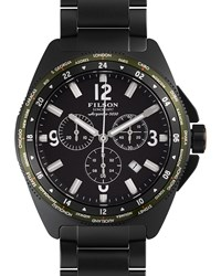 44Mm Journeyman Chrono Watch With Link Bracelet Black Filson Blue