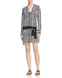 Equipment Kate Moss For Rosland Stripe Silk Shirt Dress True Black Bright White