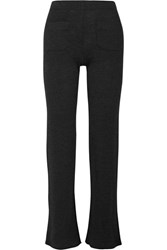Helmut Lang Ribbed Wool Blend Bootcut Pants Charcoal
