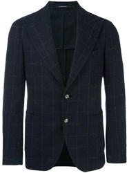 Tagliatore Lightly Checked Jacket Blue