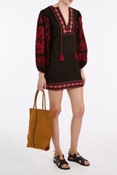 Talitha Salma Embroidery Tunic Dress Black