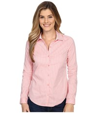 Nydj Fit Solution Woven Top Guava Gingham Women's Clothing Pink