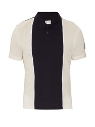 Moncler Gamme Bleu Contrast Panel Cotton Pique Polo Shirt Navy Multi