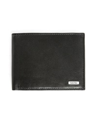 Calvin Klein Black Leather Flap Coin Wallet