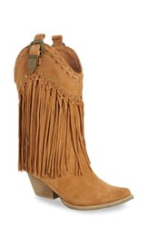 Very Volatile Women's 'Wyatt' Fringe Western Boot Tan Suede