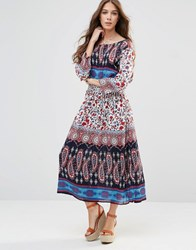 Raga Take Heart Printed Maxi Dress With Cross Over Back 112 Multi