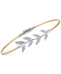Charriol Women's Laetitia White Topaz Accent Leaves Two Tone Pvd Stainless Steel Bendable Cable Bangle Bracelet Two Tone