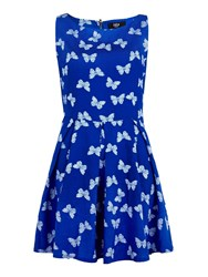 Yumi Butterfly Print Day Dress Blue