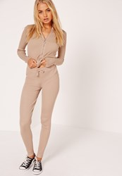 Missguided Ribbed Leggings Camel