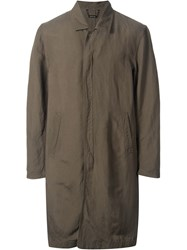 Monkey Time Front Zip Mid Length Military Coat Green