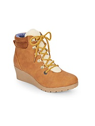 Tommy Hilfiger Kid's Fleece Trimmed Wedge Ankle Boots Tan