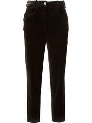 Celine Vintage Cropped Trousers Brown