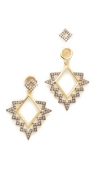 Noir Teton Earrings Opal Gold