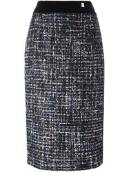 Class Roberto Cavalli Tweed Pencil Skirt Blue