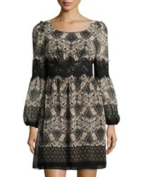 Max Studio Paisley Print Lace Detail Dress Black Pattern