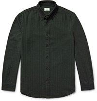 Club Monaco Slim Fit Button Down Collar Herringbone Cotton Flannel Shirt Dark Green