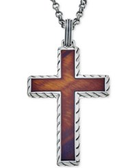 Esquire Men's Jewelry Red Tiger Eye 40 X 27 1 2Mm Cross Pendant Necklace In Sterling Silver First At Macy's