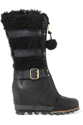 Sorel Helen Waterproof Shearling And Nubuck Wedge Boots Black