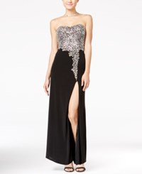 Crystal Doll Juniors' Embellished Strapless Maxi Dress Silver Black