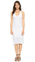 Stateside Supima Slub Midi V Neck Dress White