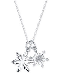Disney Diamond Accent Snowflake Pendant Necklace In Sterling Silver