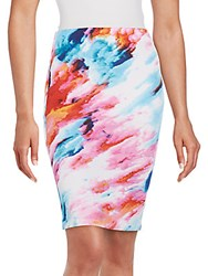 Saks Fifth Avenue Red Fitted Printed Skirt Blue Water