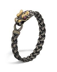 John Hardy Men's Sterling Silver And 18K Bonded Gold Naga Dragon Head Bracelet With African Ruby Eyes