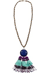 Etro Tasseled Gold Plated Lapis And Crystal Necklace