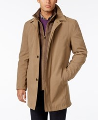 London Fog Men's All Weather Coat With Snap Out Liner Dark Beige