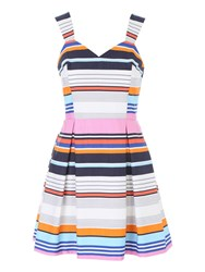 Jane Norman Assorted Stripe Engineered Prom Dress Multi Coloured