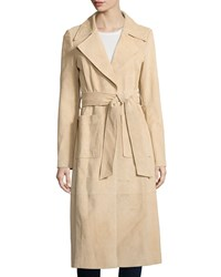 Bagatelle Long Suede Belted Trench Jacket Women's Tan