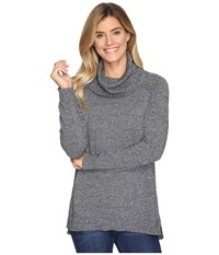 Lilla P Cowl Neck Tunic Cotton Cashmere Black Marl Women's Clothing Gray