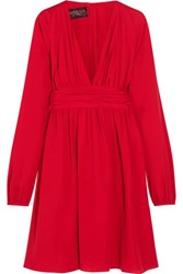 Giambattista Valli Ruched Silk Georgette Mini Dress Red