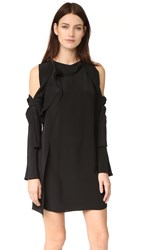 3.1 Phillip Lim Long Sleeve Cold Shoulder Dress Black