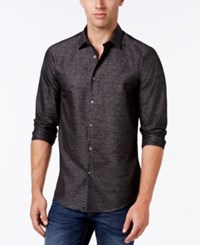 Alfani Collection Men's Textured Heather Long Sleeve Shirt Classic Fit Ebony