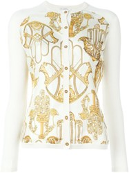 Versace Collection Hamsa Print Cardigan White