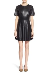 One Clothing Faux Leather Skater Dress Black