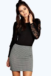 Boohoo Dogstooth Bodycon Mini Skirt Multi