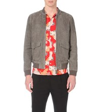 Allsaints Bloomington Suede Bomber Jacket Slate Grey