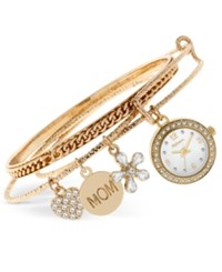 Styleandco. Style And Co. Women's Gold Tone Mom Charm Bangle Bracelet Watch 22Mm Sy045g Only At Macy's