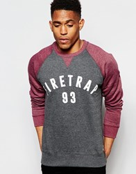 Firetrap Contrast Raglan Sleeve Crew Neck Sweater Grey