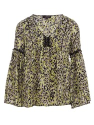Morgan Patterned Flared Sleeve Top Green