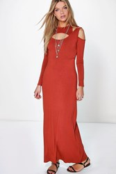 Boohoo Cut Out Long Sleeve Maxi Dress Chestnut