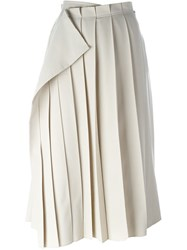 Yohji Yamamoto Vintage Pleated Wrap Skirt Nude And Neutrals