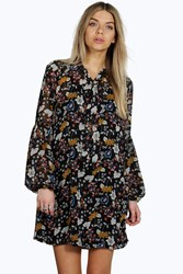 Boohoo Tie Neck Puff Sleeve Floral Shirt Dress Black