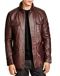 Armani Collezioni High Collar Leather Jacket