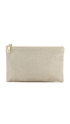 Lauren Merkin Handbags Disco Glitter Ellie Flat Clutch Pale Gold