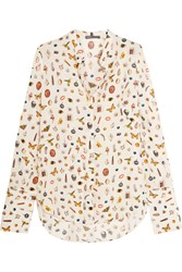Alexander Mcqueen Obsession Printed Silk Blouse Ivory